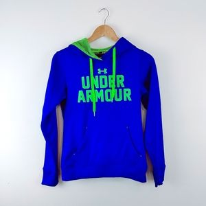 UNDER ARMOUR | XS Royal Blue Lime Green Hoodie